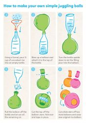 How to make your own simple juggling balls. Using a funnel, pour ½ cup of uncooked rice into an empty bottle. Blow up a balloon and attach it to the top of the bottle. Turn the bottle upside down to let the filling pour into the balloon.Pull the balloon off the bottle and let out all the remaining air. Cut the top off the balloon stem, fold over and tape in place. Cut whole stem off two more balloons and cover over original rice balloon.